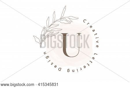 Letter U Logo With Watercolor Brush And Circle Lettering Design And Outline Leaves In Pastel Colors.