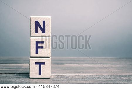 Wooden Blocks Nft - Non-fungible Token. Digitally Represented Product Or Asset. Selling Digital Asse