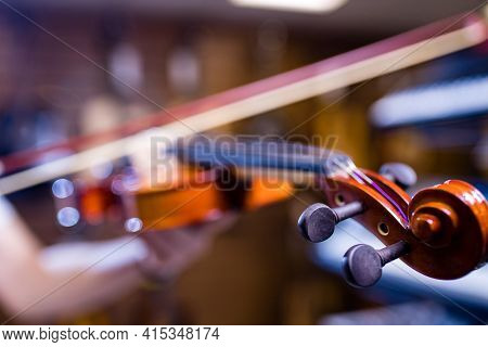 Violinist Hands Playing Violin Orchestra Musical Instrument Closeup Indoor