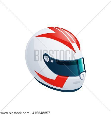 White Racing Helmet With Red Graphic Elements And A Blue Visor Is Isolated On A White Background. Th