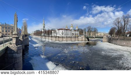 Russia, St. Petersburg, 01 April 2021: St. Nicholas Naval Cathedral Belltower In A Clear Sunny Day O