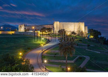 Fuengirola, Spain. View Of Sohail Castle (castillo Sohail) At Dusk