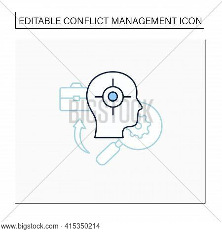 Identifying Triggers Line Icon. Find Problems. Identify Overwhelming Sadness, Anxiety, Panic. Confli