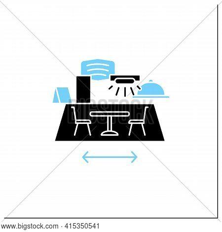 Restaurant Disinfection Glyph Icon.ultraviolet Light Disinfection.furniture Disinfect.regulation Thr