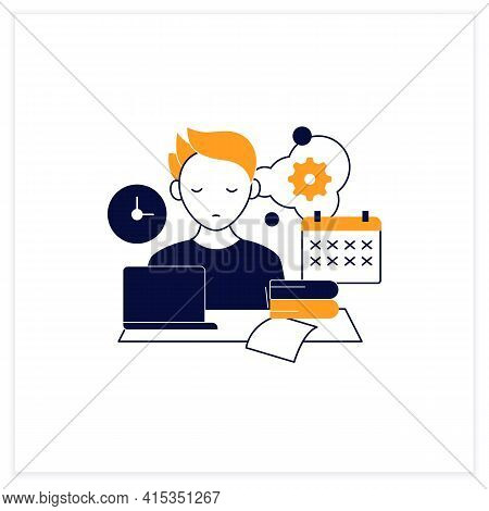 Defier Procrastinator Flat Icon.avoid New Tasks. Finding Reasons Not Complete Tasks.procrastination