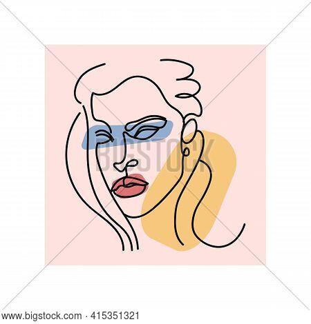 Elegant Minimalist Portrait Continuous Silhouette Art. Contemporary Portrait. Pretty Face. Flirts. A