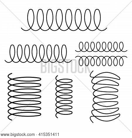 Spiral Spring Vector Logo Icon Of Swirl Line Or Curved Wire Cord Pattern. Induction Cooker Icon