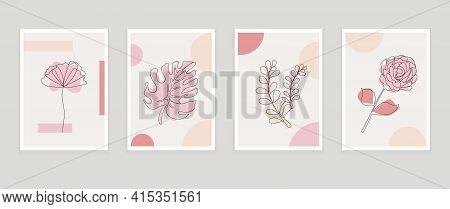 Botanical Prints Boho Vector Set Wall Art Trendy. Bohemian Style With Line Art Elements, Tropical Le