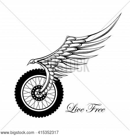 Monochrome Vector Image Of A Motorcycle Wheel With A Fender. Template For Emblem, Print, Flyer, Bann
