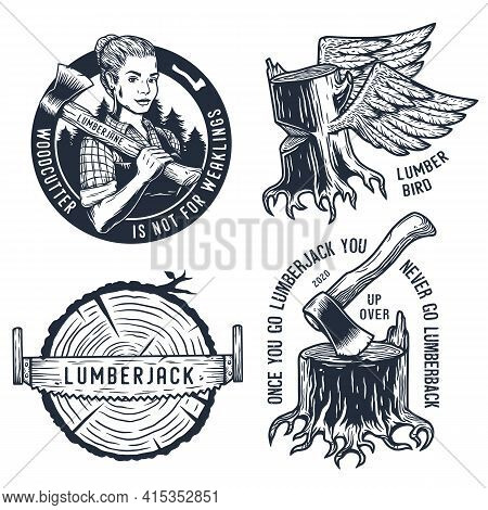 Lumberjack Woman With Axe. Set Of Print For Axeman