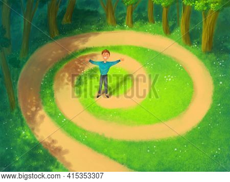 Hand-drawn Man Standing On The Path, Reaching His Goal, In The Forest. Achieving Goals, Dedication,