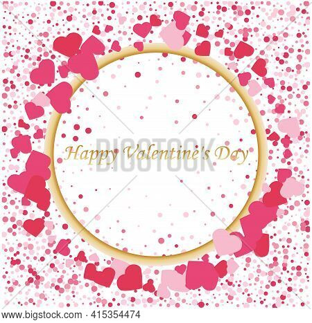 Heart Of Pink Valentine Confetti Falling On Light Background With Gold Frame. Flower Petal In The Fo