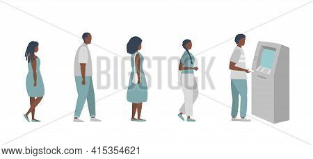 Queue To The Atm. Black People Are Waiting In Line To Withdraw Money From An Atm. Vector Illustratio