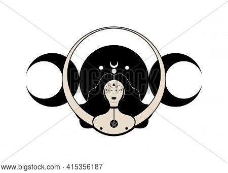 Triple Goddess Symbol Of Moon Phases. Wiccan Woman Icon. Hekate, Mythology, Wicca, Witchcraft. Tripl