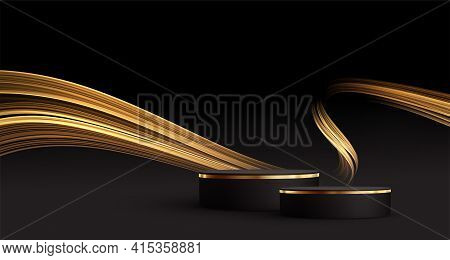 Minimal Black Scene With Golden Lines. Cylindrical Gold And Black Podium On A Black Background. 3d S