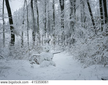 A Beautiful Picture Of A Snowman Or Snowwoman , An Intresting Photo