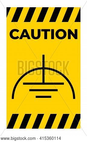Caution Noiseless Earth Clean Ground Symbol Sign On White Background