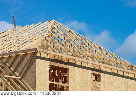 Instalation Of Rafters Of A Plywood House