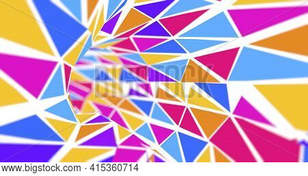 Tunnel Background Formed By Blue, Red And Yellow Triangles On A White Background Flying Towards The