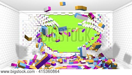 White, Yellow, Blue And Red Brick Wall Exploding Inside A Room With White Walls And Bricks Scattered