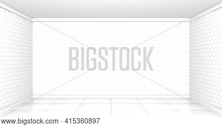 Empty Room Background With White Brick Walls And Reflective Floor Seen From The Front. 3d Illustrati