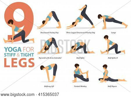 Infographic 9 Yoga Poses For Workout At Home In Concept Of Stiff And Tight Legs In Flat Design. Wome