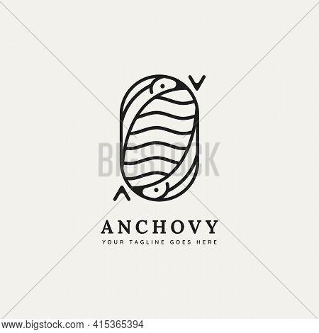 Anchovy Fish Minimalist Line Art Badge Logo Template Vector Illustration Design. Simple Modern Resta