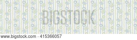 Seamless Minimalist Blockprint Buttefly Border Pattern. Calm Pale Tonal Pastel Color Edge Trim. Simp