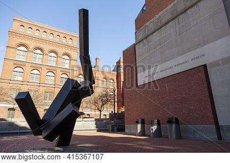 Washington Dc, Usa 11-02-2020: Entrance Of The United States Holocaust Memorial Museum In Washington