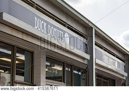 Rockville, Md, Usa 03-04-2021: Outside Of A Branch Of Duck Donuts, A Famous Donut Shop Known For Its