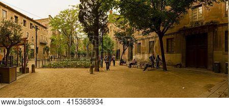 Barcelona, Spain 05-01-2010: Panorama Of The Old Hospital De La Santa Creu Building Complex . A Form