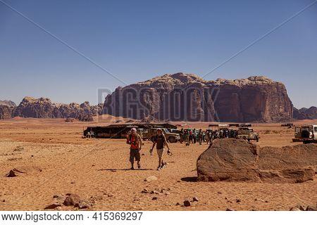 Wadi Rum Desert, Jordan 03-31-2010: Local Gathering Area For Desert Safari Tourists In The Wadi Rum