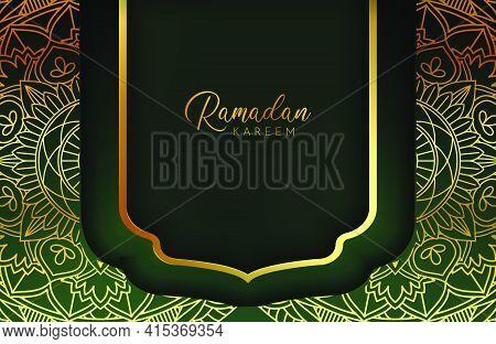 Luxury Black Gold Background Banner With Islamic Arabesque Mandala Ornament On Dark Green