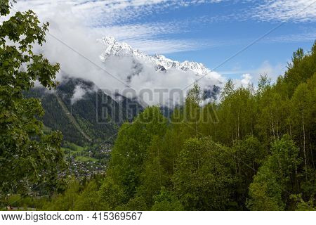 View Of The French Alps Near The Summit Of Mont Blanc At The Entrance Of The Mont Blanc Tunnel Betwe