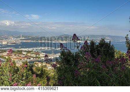 Aerial View Of The Northern Italian City Of La Spezia, Taken From A Hilltop Overlooking The City. Im