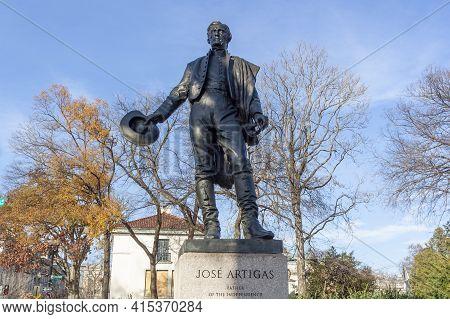 Washington Dc, Usa 11-29-2020: Bronze Statue Of General Jose Gervasio Artigas, Liberator Of Uruguay