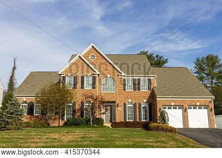 Rockville, Maryland Usa 11-10-2020: A Modern Spacious Upscale Two Story Brick Single Family Home Wit