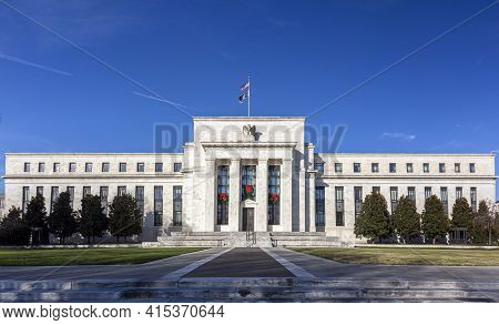 Washington Dc, Usa, 11-29-2020:  Panoramic View Of The Marriner S. Eccles Federal Reserve Board Buil