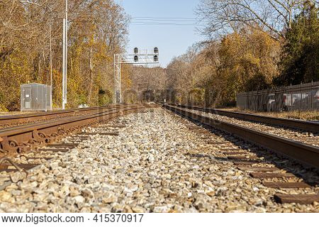 Low Angle Nostalgic Image Of Two Railroad Tracks Going Into The Woods. The Rusted Tracks Converge At