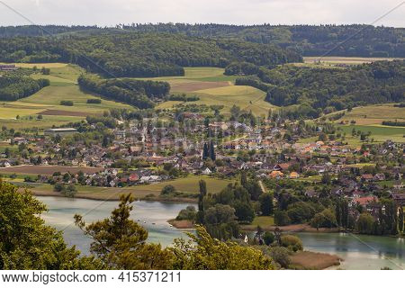 Aerial View Of The Scenic Swiss Town Of Stein Am Rhein Near River Rhine. Image Features Traditional