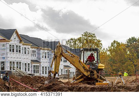 Clarksburg, Md, Usa 10/21/2020: A Former Forest Is Turning Into A Residential Area In A Suburban Nei