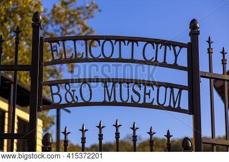 Ellicott City, Md Usa 10/07/2020: Entrance Of Historic Ellicott City Railroad Station, Museum. Built
