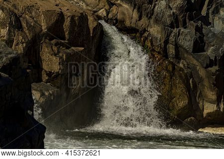 Close Up View Of The Cascading Water At Great Falls Region Of The Potomac River. Image Was Taken Fro