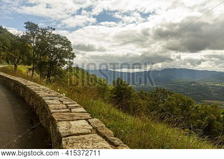 View Of Shenandoah Valley Observed From A Scenic Overlook By Skyline Drive. Image Features Vast Fore
