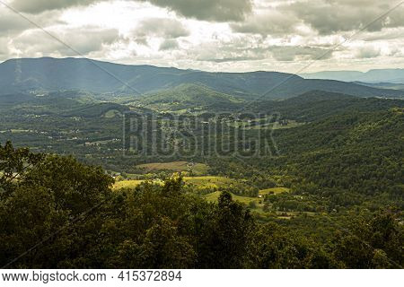 A Scenic Vista Of Shenandoah Valley As Seen From A Scenic Overlook By Skyline Drive. Sunlight Rays P
