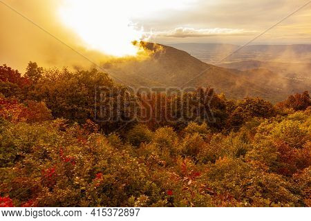 A Scenic Vista Of Shenandoah Valley From An Overlook At Over 3000 Feet Elevation By The Skyline Driv
