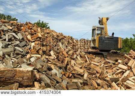 Logging Site Where Trees From Nearby Forest Are Chopped And Cut Into Wooden Logs. These Logs Are The