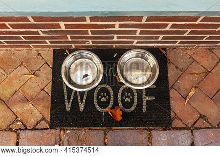 Flat Lay Image Of Two Metal Plates Filled With Drinking Water For Stray Animals That Are Placed On A
