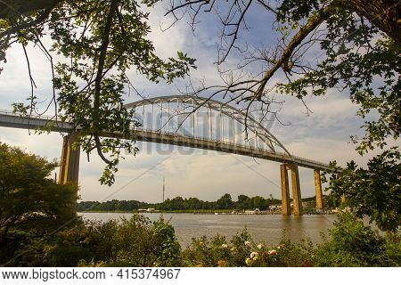 Wide Angle Image Of The Chesapeake City Bridge That Spans Over The Chesapeake And Delaware Canal (c