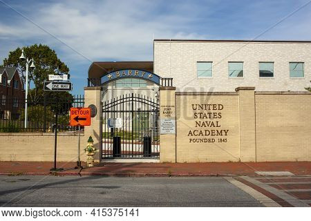 Annapolis, Md 08/21/2020: View Of Thenaval Academy In Annapolis, Md . Image Shows The Barry Entrance